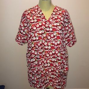 Women's Christmas V neck Scrub Top Size M